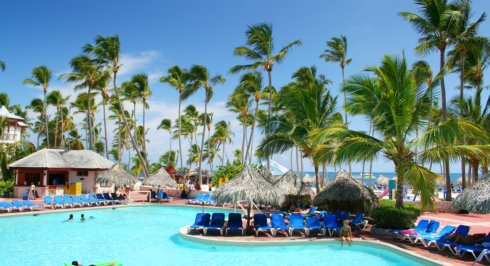 resort with coconut trees